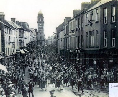 A Fusiliers Pipe and Drum March in Enniskillen, 1938